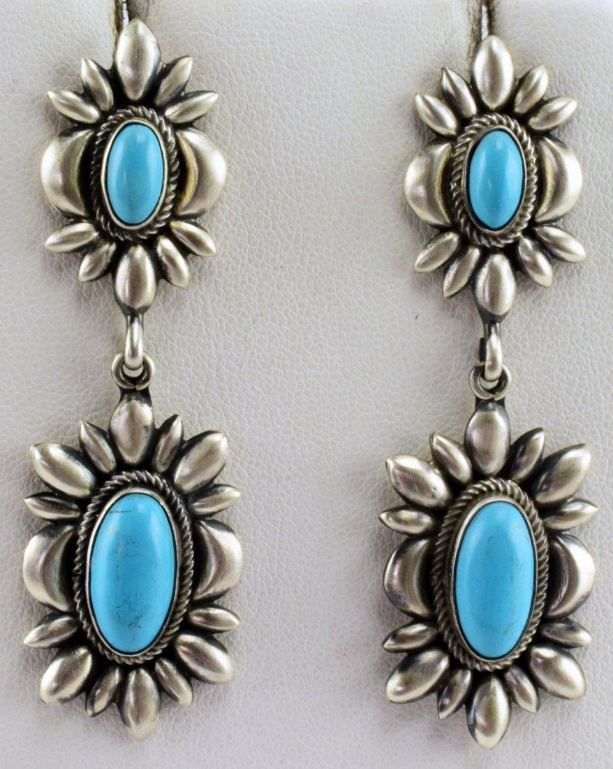 D. Clark Sleeping Beauty Turquoise Repousse Earrings