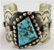 Navajo Sterling Lg. Red Mountain Turquoise Bracelet