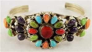 Bobby Johnson Sterling Multi-Stone Heart Bracelet