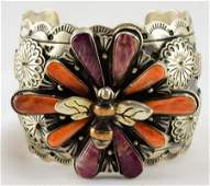 Masterpiece Lg. Sterling Spiny Oyster Bee Bracelet
