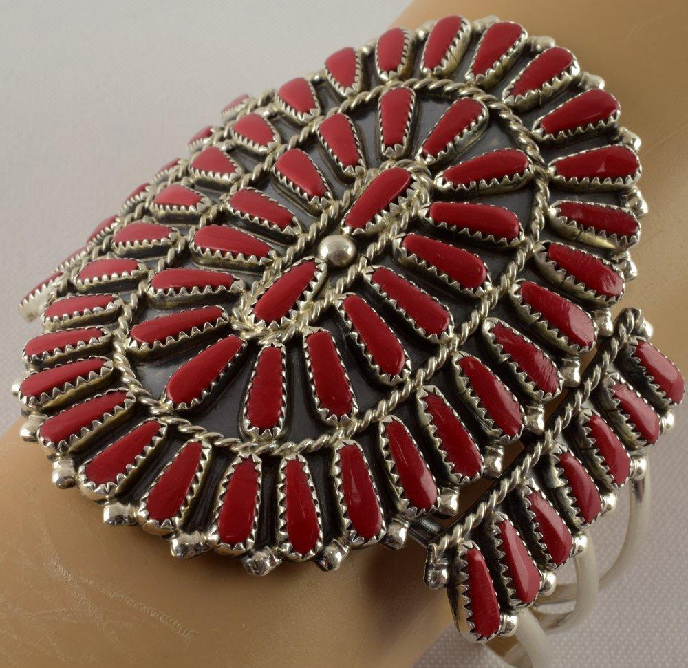 Navajo Sterling Block Coral Needlepoint Bracelet