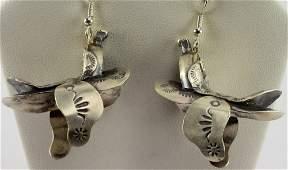 Navajo Tim Yazzie Sterling Horse Saddle Earrings