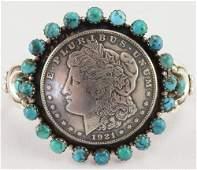 Lawrence Archuleta , Buffalo Dancer Morgan Dollar Cuff
