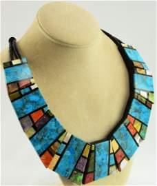 Santo Domingo Wide Hand Inlay Multi-Stone Necklace