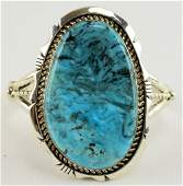 Navajo Sterling Large Blue Diamond Bracelet