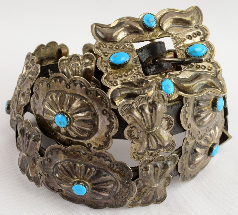 Navajo Sterling Old Pawn Concho Belt w/Turquoise