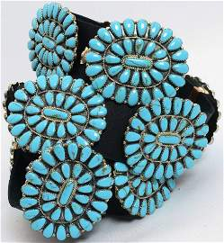 Navajo Sterling Block Turquoise Cluster Concho Belt
