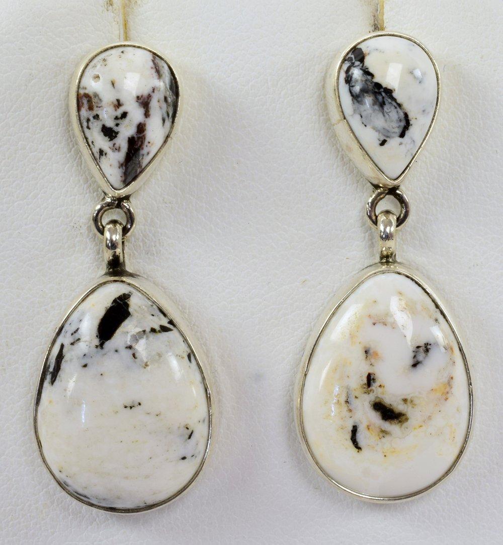 Navajo Sterling White Buffalo Turquoise Earrings