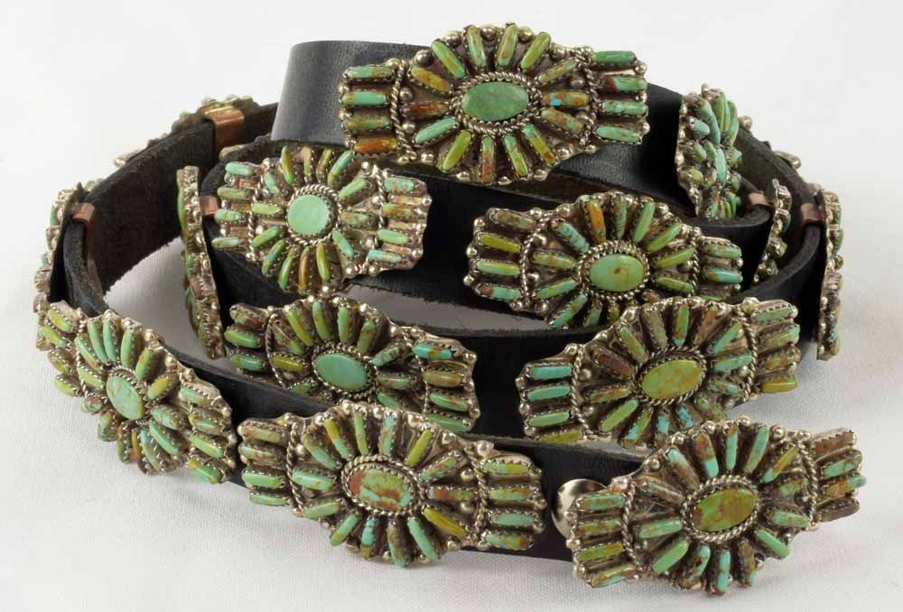 Navajo Sterling Silver Petit-Point Concho Belt