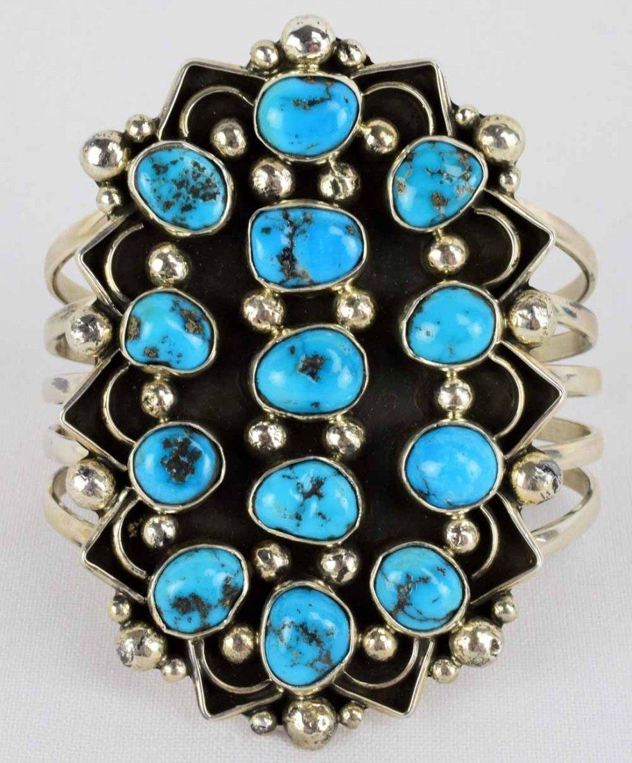 Navajo, Sterling Ithaca  Peak Turquoise Bracelet