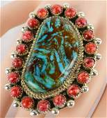 Sterling Large Kingman Turquoise & Spiny Oyster Ring