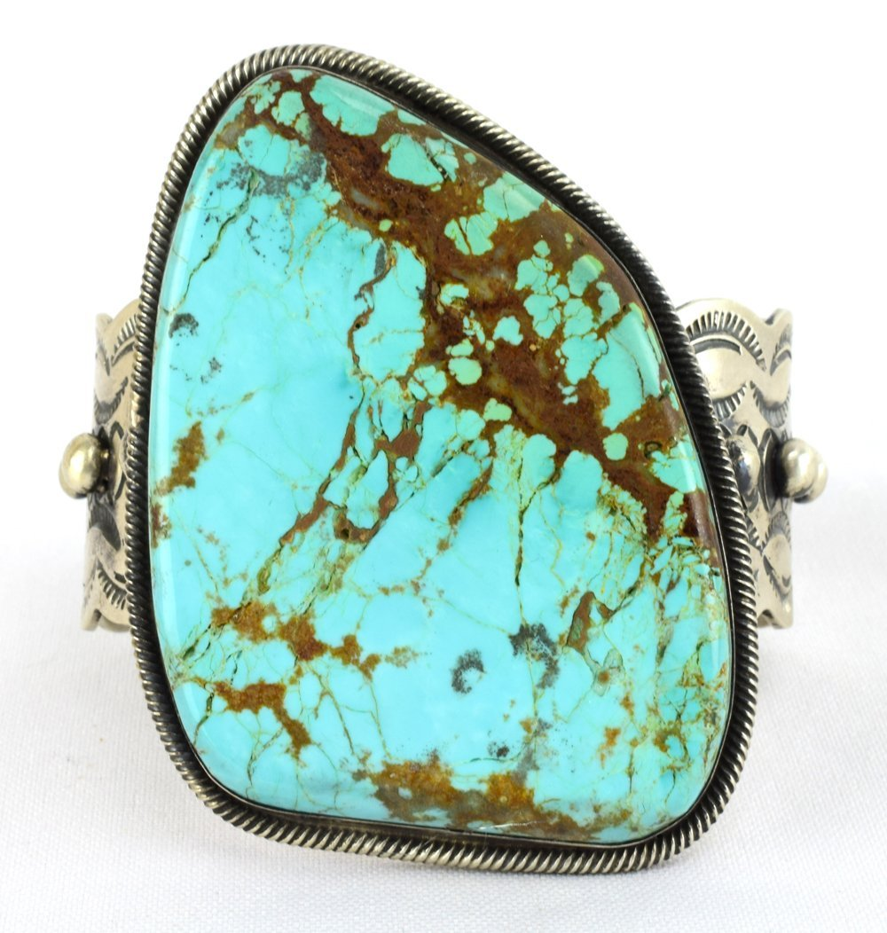Huge Sterling No. 8 Turquoise Bracelet by Chimney Butte