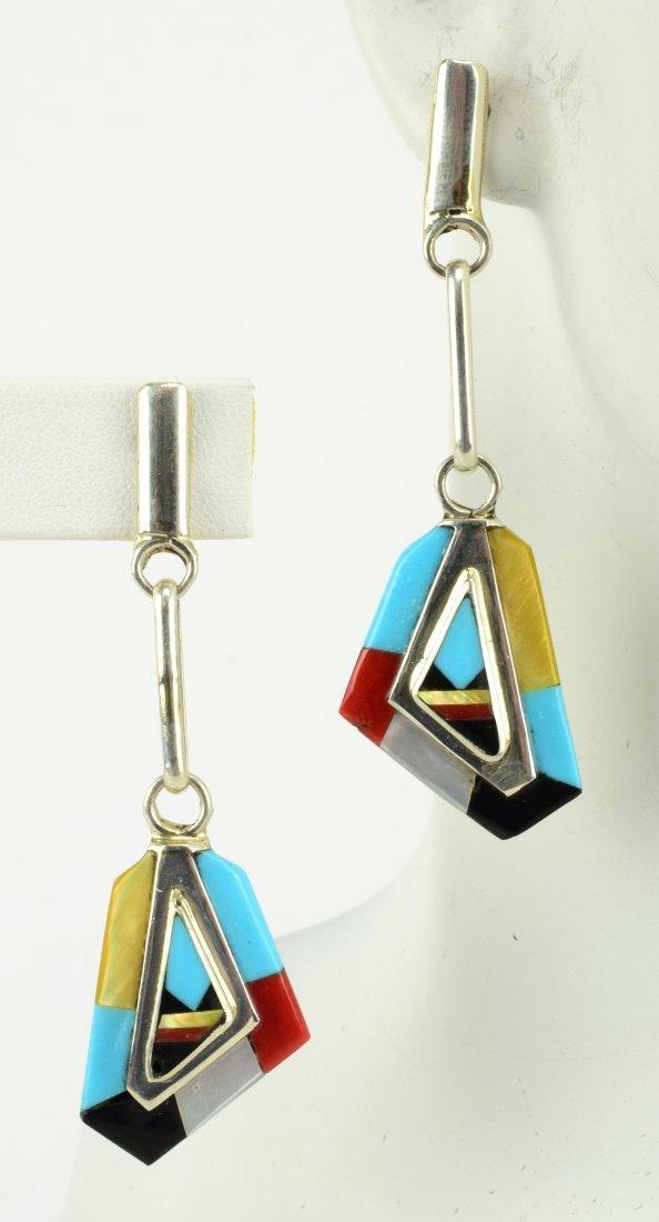 Zuni Sterling Silver Multi-Stone Inlay Earrings