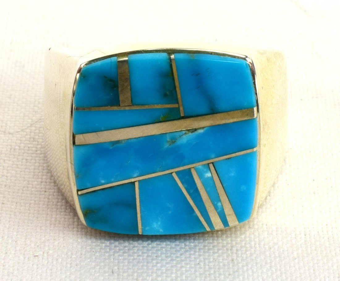 Native American  Sterling  Turquoise Inlay Men's Ring
