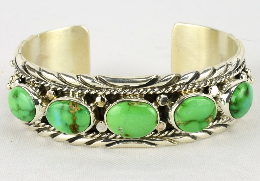 Native American Sterling Sonoran Gold Turquoise Cuff