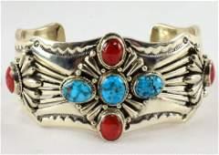 Lorenzo James Sleeping Beauty and Coral Bracelet