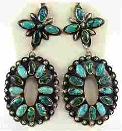 Huge!! Navajo Sterling Blue Ridge Turquoise Earrings
