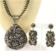 Larry Martinez Chavez Floral and Butterfly Necklace Set