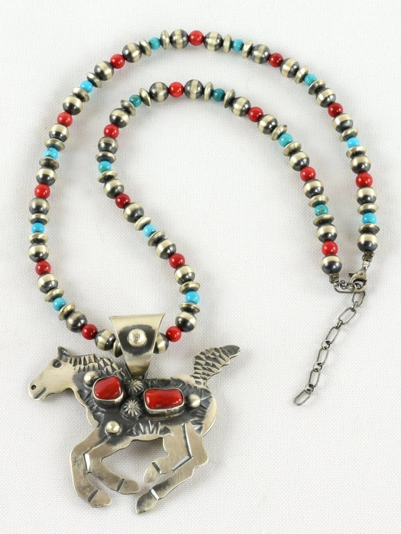 Navajo Sterling Coral Horse Pendant Necklace