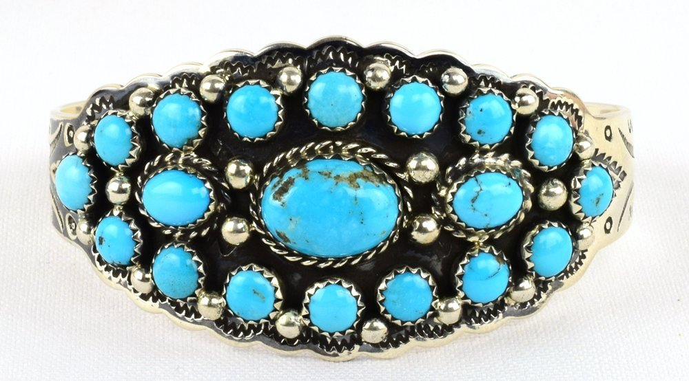 Tom Hasteen Sterling Castle Dome Turquoise Bracelet