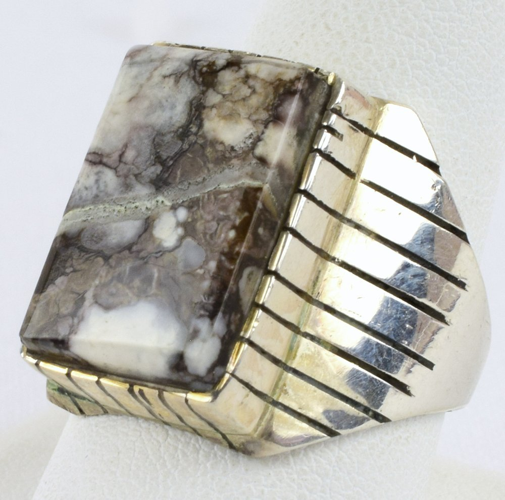 Ray Jack Sterling Wild Horse Turquoise Men's Ring