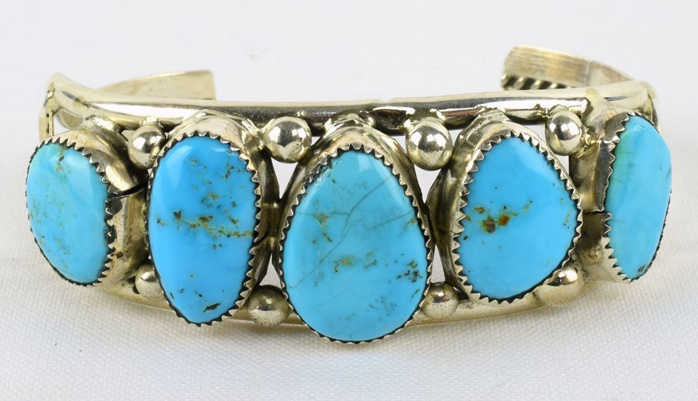 Navajo Sterling Stone Mountain Turquoise Bracelet
