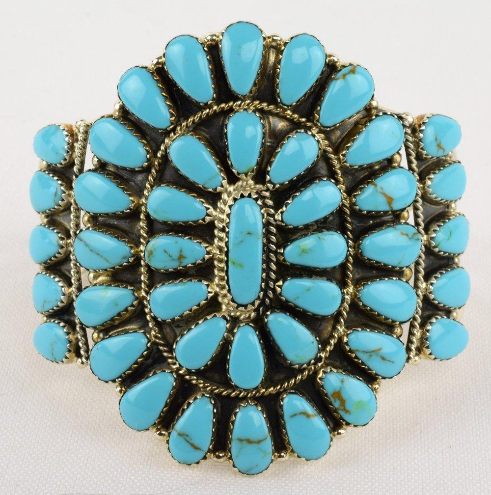 Navajo Sterling Block Turquoise Cluster Cuff Bracelet