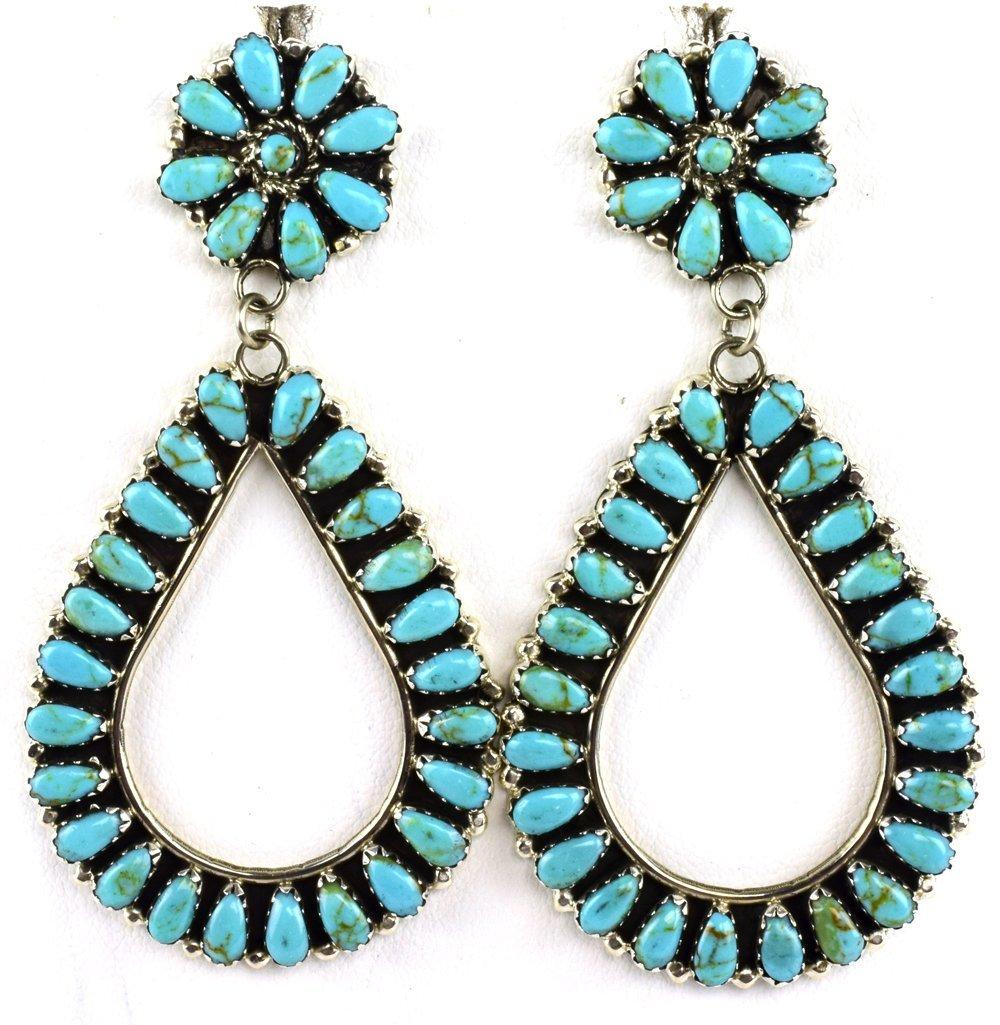 Navajo Sterling Block Turquoise Teardrop Earrings