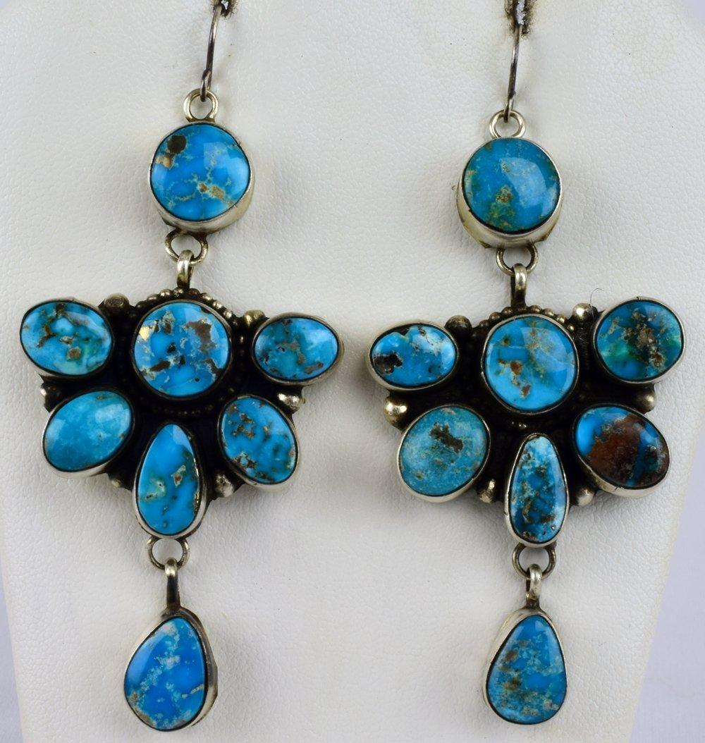 Ella Peters Sterling Morenci  Turquoise Dangle Earrings