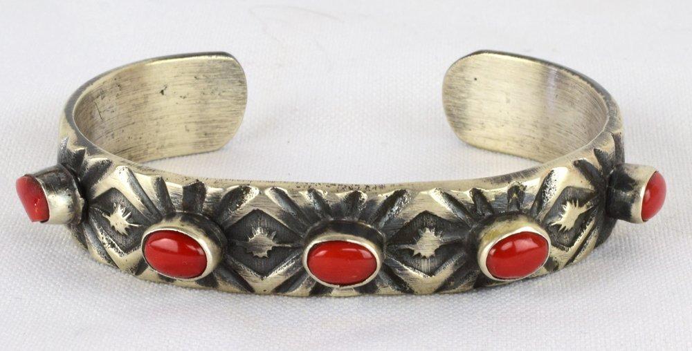 Navajo Sterling Tufa Cast 5 Stone Coral Cuff