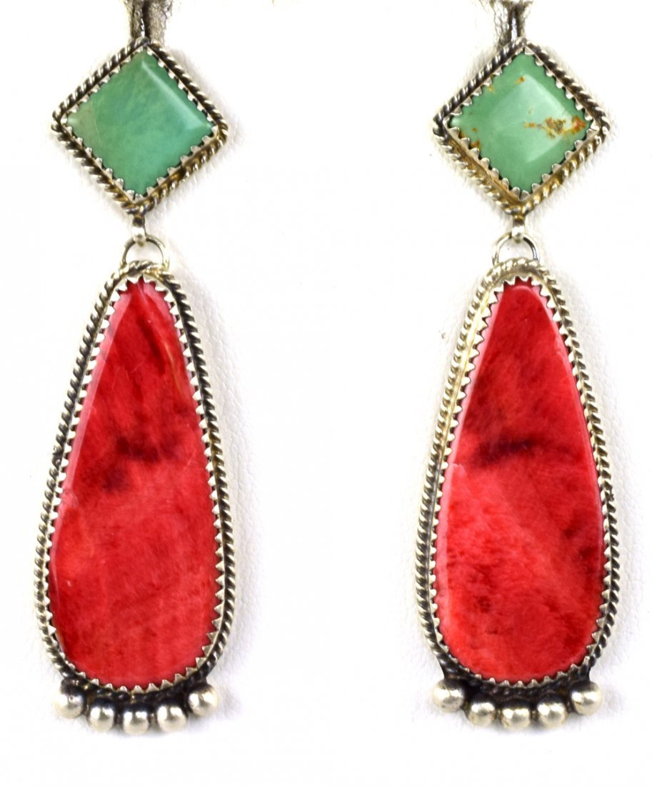 Navajo, B. Joe Turquoise & Spiny Oyster Earrings