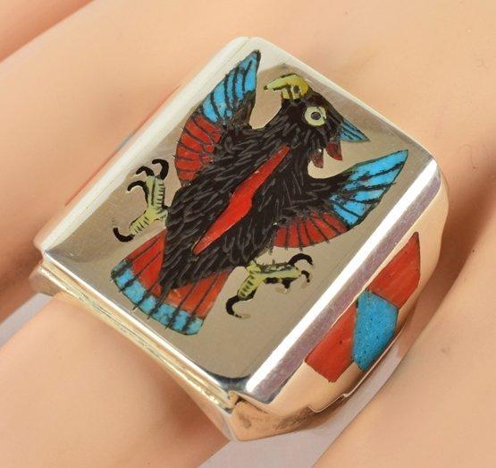 Zuni, Harlin Coonis Sterling Inlay Eagle Men's Ring