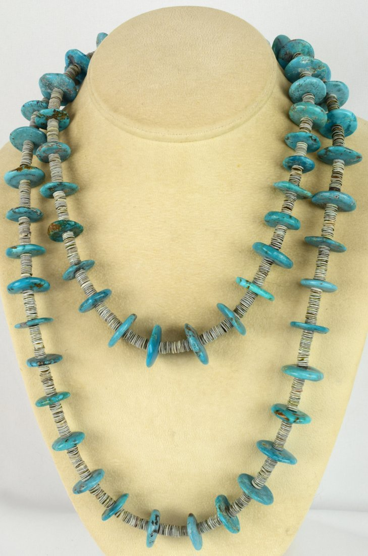 Vintage Kingman Turquoise Disc and Heishi Necklace 42in