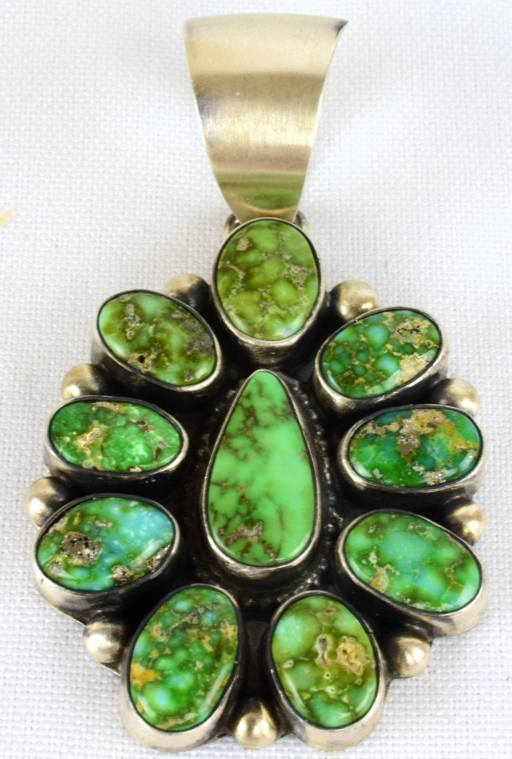 Kathleen Chavez Sterling Sonoran Gold Turquoise Pendant