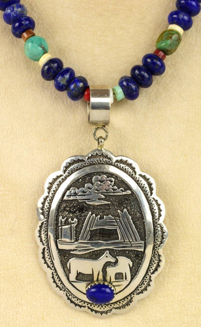 Navajo Sterling Multi-Stone & Storyteller  Necklace