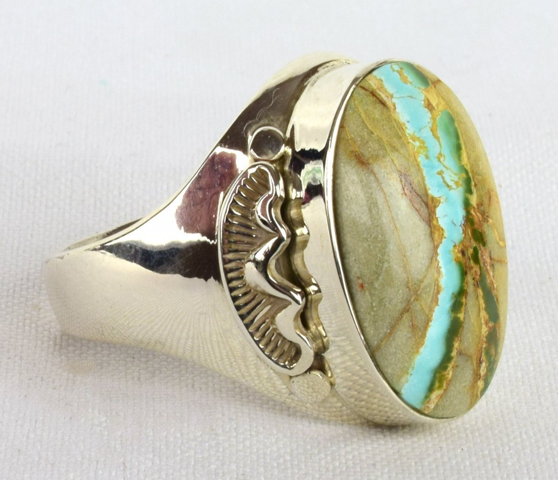 Native American Sterling Ribbon Turquoise Men's Ring