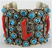 Vintage Mathilda James Coral and Turquoise Bracelet
