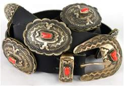 Old Pawn Sterling Silver Coral Concho Belt
