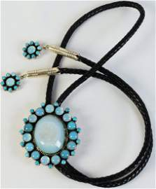D. Livingston Moonstone, Druzy and Turquoise Bolo Tie