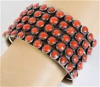 Mediterranean Coral 5 Row Bracelet by Harold Tahe