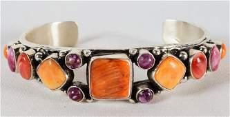 Navajo Sterling Spiny Oyster Bracelet - Begay