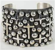 Chimney Butte Sterling Wide Cross & Bead Bracelet