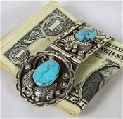 Navajo Heavy Men's Money Clip w/Turquoise