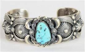 Delbert Gordan Kingman Turquoise Heavy Applique Cuffel
