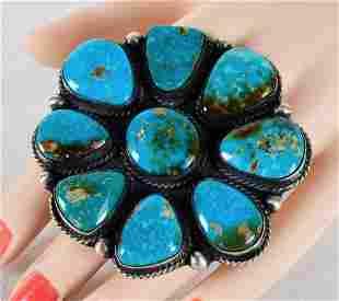 Augustine Largo Huge Sterling Kingman  Turquoise Ring