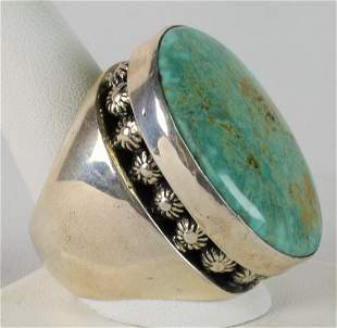 Native American Sterling Huge Fox Turquoise Ring