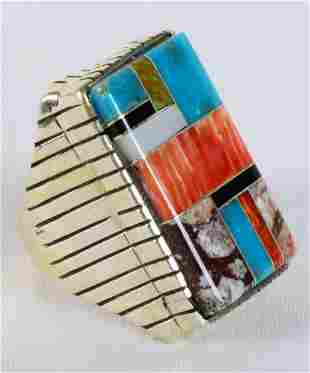 Ray Jack Sterling Multi-Stone Inlay Men's Ring