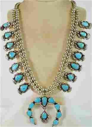 Geraldine James Castle Dome Squash Blossom Necklace