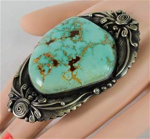 Bobby Johnson Sterling Huge Carico Lake Turquoise Ring