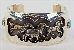 Thomas Yazzie Sterling 3-D Galloping Horses Bracelet